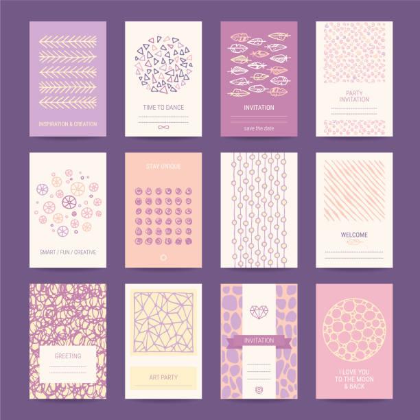 ilustrações, clipart, desenhos animados e ícones de cartão romântico, modelos de design do convite de casamento - festa da empresa