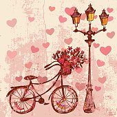 Romantic card with bike, flowers and lamp