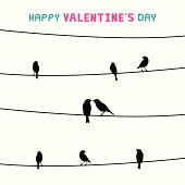 Birds on the wires. Card for valentine day.