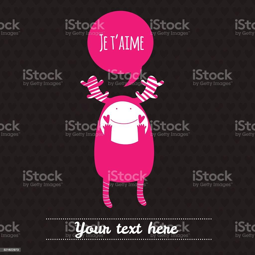 Romantic cartoon card with lovely monster. 'JE T'AIME'. vector art illustration