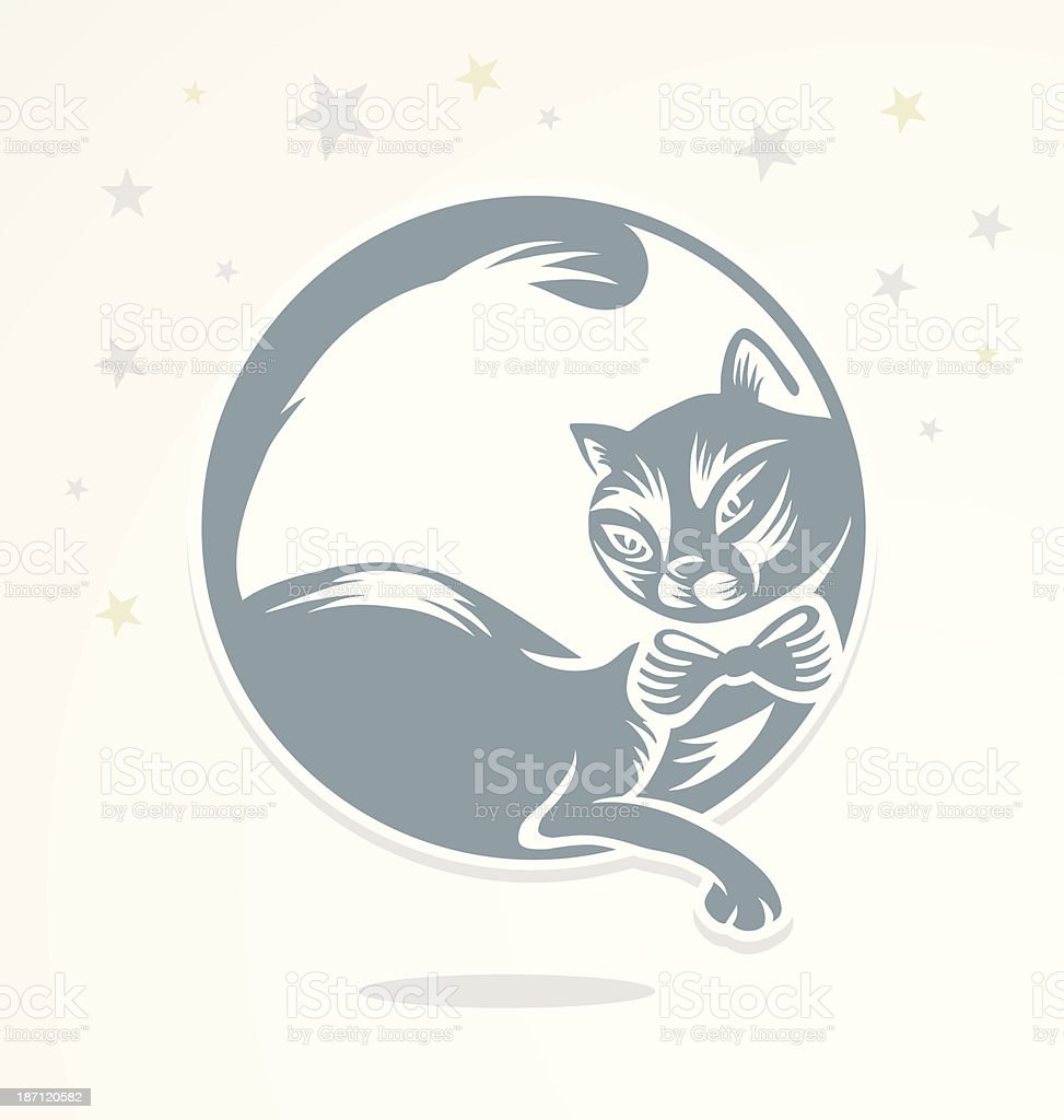 Romantic cat who sits on the moon. royalty-free stock vector art
