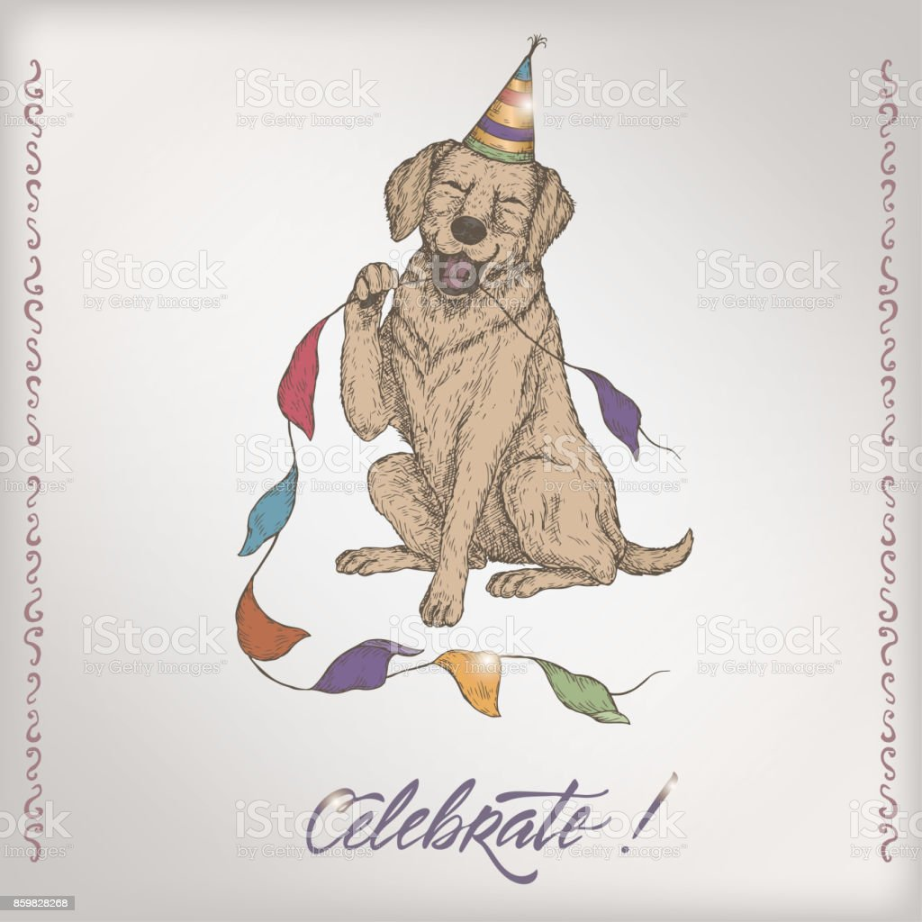 Romantic Color Vintage Birthday Card Template With Calligraphy Dog ...