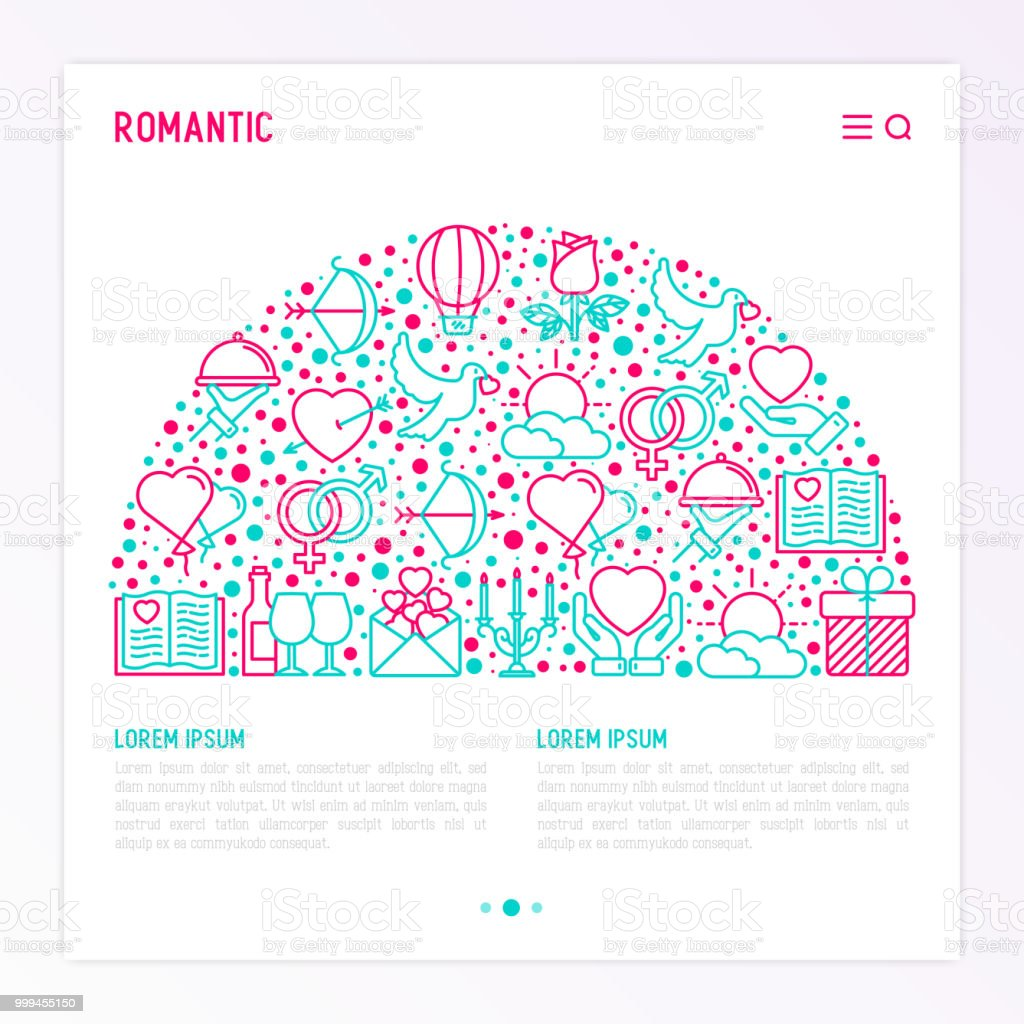 romantic concept in half circle with thin line icons related to