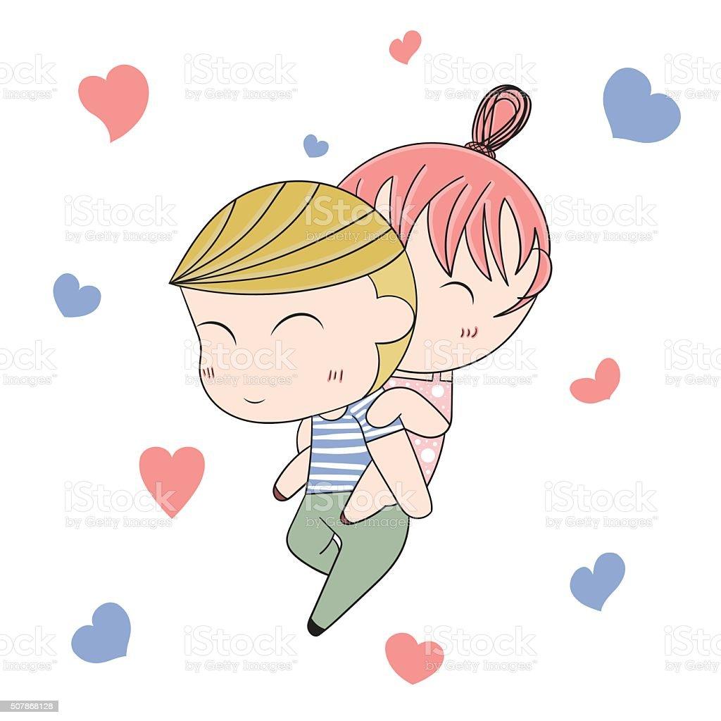 Loving boy and girl cute cartoon vector illustration illustration