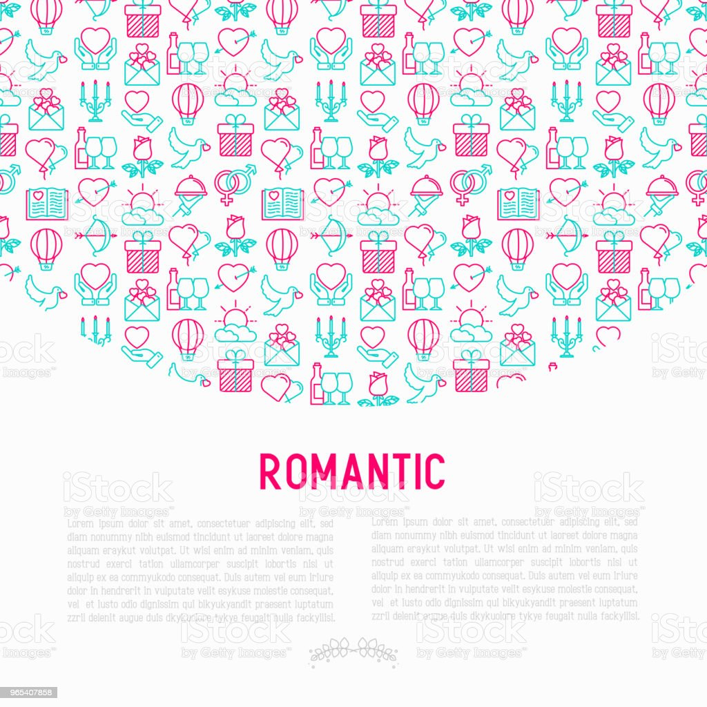 Romantic concept with thin line icons, related to dating, honeymoon, Valentine's day. Modern vector illustration, web page template. romantic concept with thin line icons related to dating honeymoon valentines day modern vector illustration web page template - stockowe grafiki wektorowe i więcej obrazów balon royalty-free