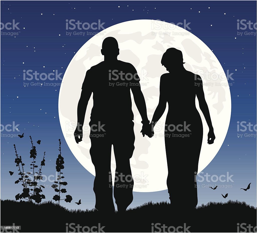Romantic couple at night in silhouette against the moon. royalty-free stock vector art