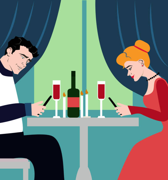 romantic couple dinner, looking at their smart phones. smart phone addicted people. modern life concept. character design. - date night stock illustrations