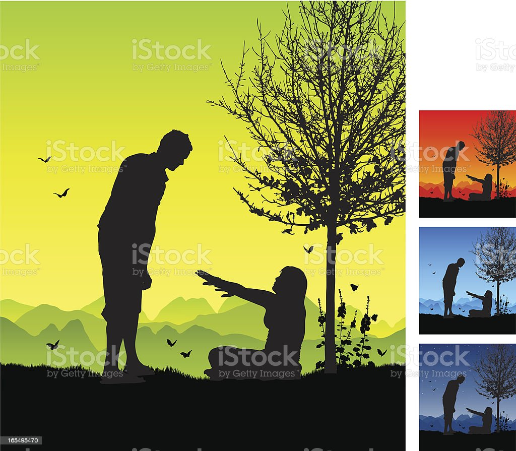 Romantic couple getting up off the grass royalty-free stock vector art