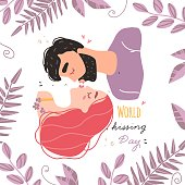 Romantic couple in love kissing. World kissing Day. Vector illustration