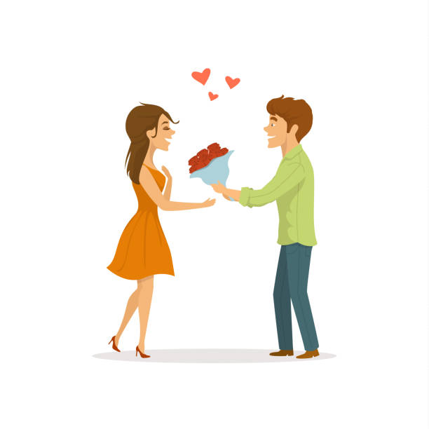 romantic couple in  love on a date, man surprises woman  with flowers cute cartoon vector illustration romantic couple in  love on a date, man surprises woman  with flowers cute cartoon vector illustration girlfriend stock illustrations