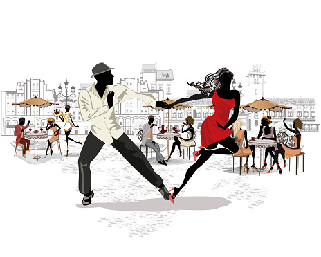 Romantic couple in passionate Latin American dances.