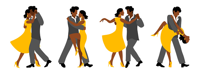 Romantic couple in passionate Latin American dances. Vector set with couples for the salsa festival. Hand drawing in flat style isolated. Afro Americans are dancing