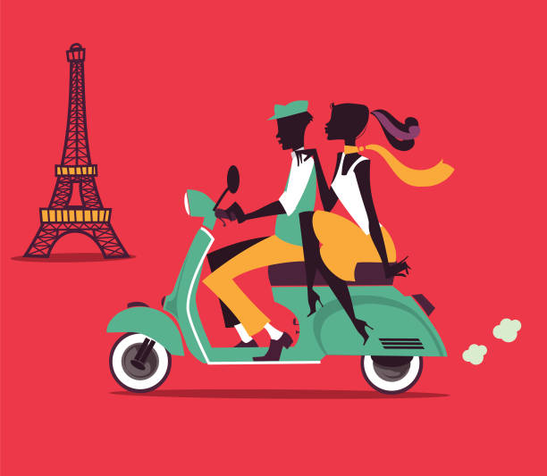 Romantic couple silhouettes on a Vespa scooter with Eiffel Tower in the background - illustrazione arte vettoriale