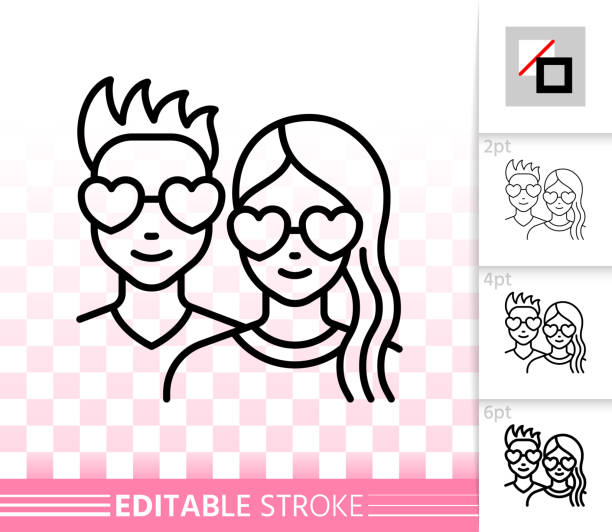 Romantic couple simple black line love vector icon Romantic couple thin line icon. Outline sign of love. People linear pictogram with different stroke width. Simple vector symbol, transparent background. Valentine day editable stroke icon without fill girlfriend stock illustrations