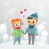 Romantic couple - St. Valentine's Day vector greeting card design