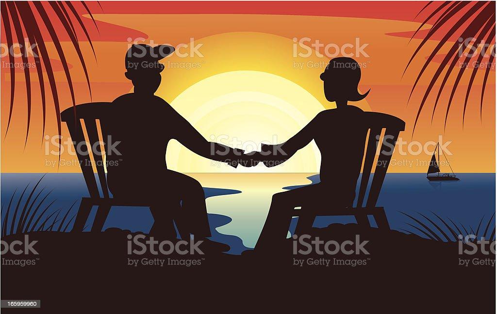 romantic couple watching a sunset illustration vector art illustration