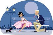 Cartoon of a romantic couple date, night city in the background