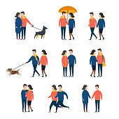 Romantic couples, lover people together. Person character vector set.