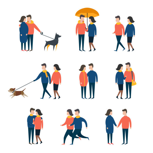 romantic couples, lover people together. person character vector set - tylko dorośli stock illustrations