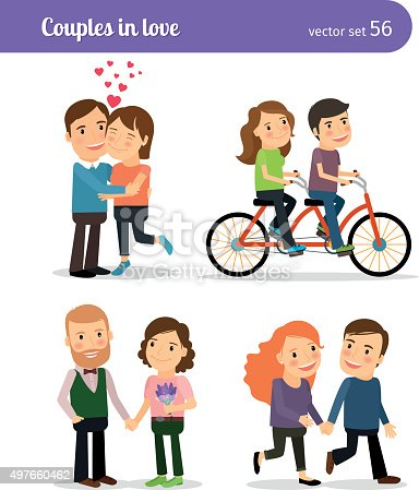 Romantic couples being together and walking, talking and riding bike. Vector illustration.