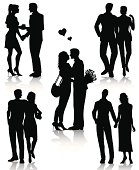 Couple silhouettes isolated on white background.File include editable eps with high resolution jpeg image.