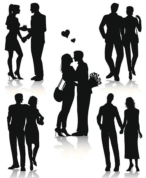 Romantic couples silhouettes vector art illustration