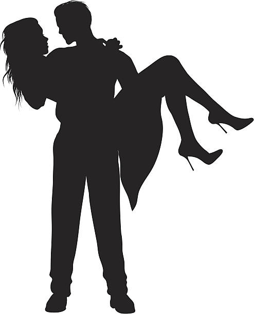romantic couples vector art illustration