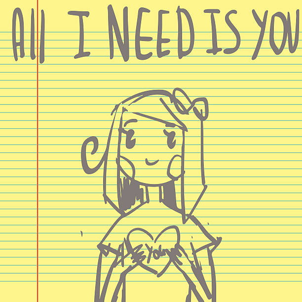 Romantic cute All I need is you postcard sketch. vector art illustration