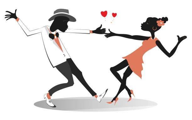 Romantic dancing young African couple isolated illustration Funny dancing young African man and woman and heart symbols isolated on white illustration african american valentine stock illustrations