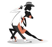 Funny dancing young African man and woman isolated on white illustration