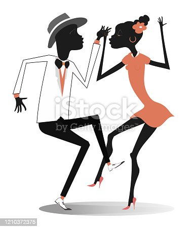 istock Romantic dancing young African couple isolated illustration 1210372375