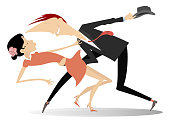 Romantic dancing young couple illustration isolated