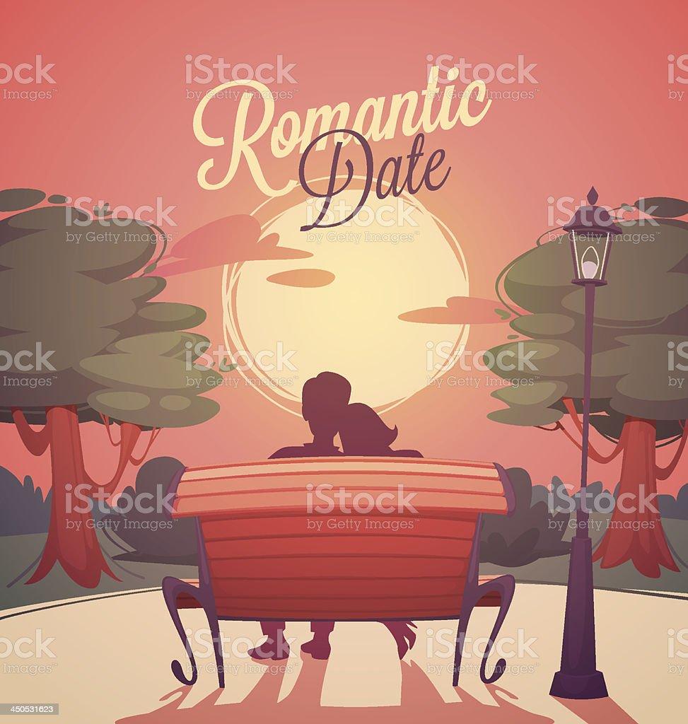 Romantic date card vector art illustration