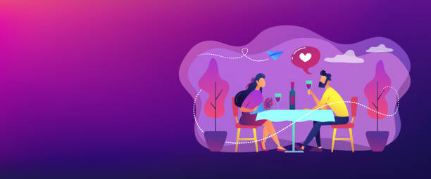 Romantic date concept banner header. Happy couple in love on romantic date sitting at table and drinking wine, tiny people. Romantic date, romantic relationship, love story concept. Header or footer banner template with copy space. dating stock illustrations
