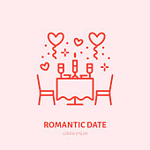 Romantic date illustration. Dinner by candlelight flat line icon, jewellery store. Valentines day celebration sign