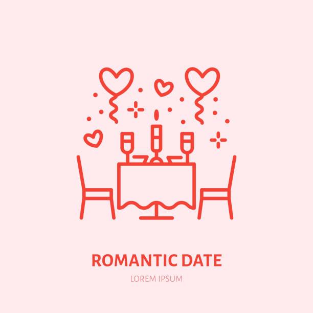 romantisches date abbildung. abendessen bei kerzenlicht flachen liniensymbol, juwelier. valentines day feier zeichen - warmes abendessen stock-grafiken, -clipart, -cartoons und -symbole