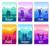 romantic date in nature brochure cards set. A couple of young people have fun together. Template of flyer, magazines, poster, books, banners. Romantic picnic in the evening sunset cover layout page