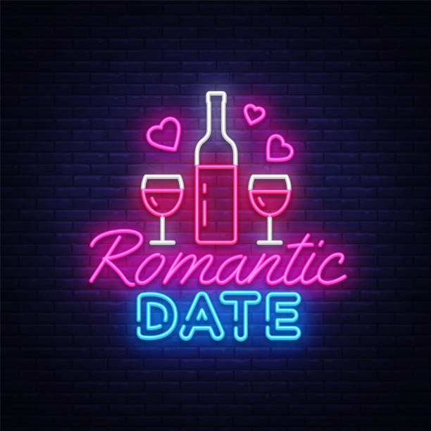 romantic date neon sign vector design template. romantic dinner neon logo, light banner design element colorful modern design trend, night bright advertising, bright sign. vector illustration - date night stock illustrations
