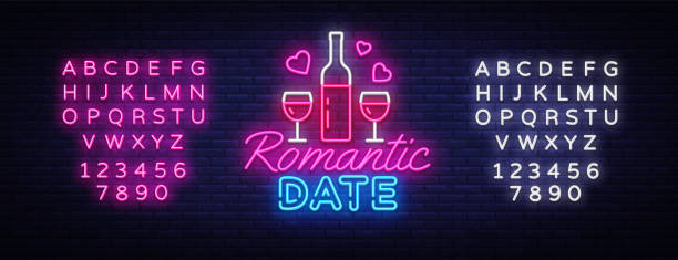romantic date neon sign vector design template. romantic dinner neon logo, light banner design element colorful modern design trend, night bright advertising. vector. editing text neon sign - date night stock illustrations