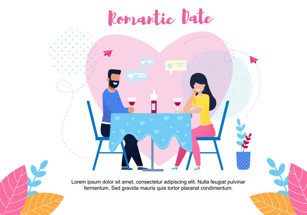 Romantic Date Text Banner with Flat Cartoon Couple Romantic Date Text Banner with Flat Cartoon Couple Sharing Bottle of Wine. Young Man and Woman Having Dinner in Cafe. Close Loving People Meeting in Romantic Relationships. Vector Flat Illustration boyfriend stock illustrations