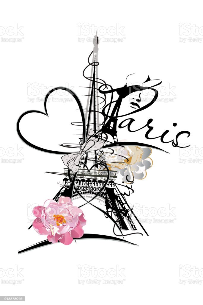 Romantic design with the Eiffel tower. vector art illustration