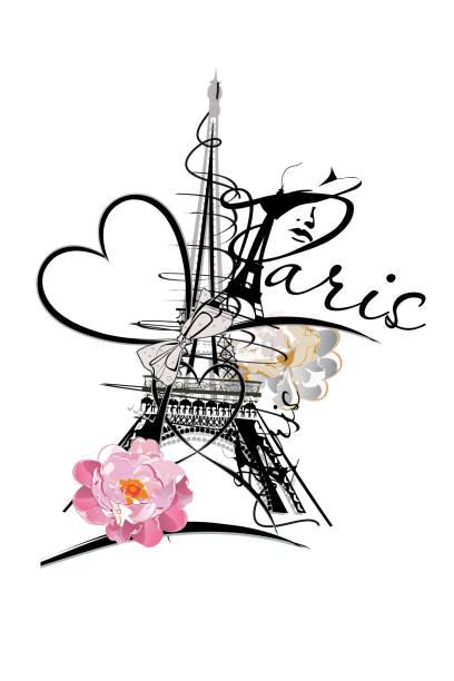 ilustrações, clipart, desenhos animados e ícones de projeto romântico com a torre eiffel. - moda parisiense