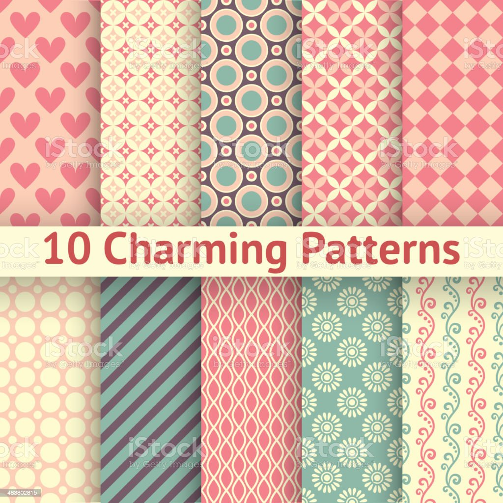 Romantic different vector seamless patterns (tiling). vector art illustration