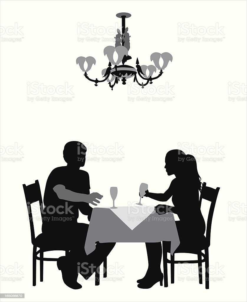 Romantic Dining Vector Silhouette royalty-free stock vector art