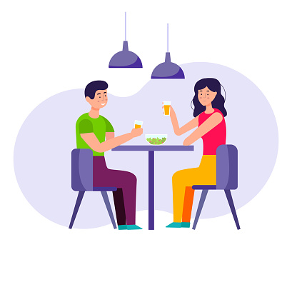 Romantic dinner at home. A young couple is having dinner, drinking juice and eating salad. Vector flat illustration.
