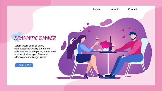 Romantic Dinner at Restaurant Man Woman Cheers