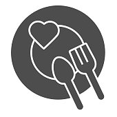 Romantic dinner dish solid icon. Heart on plate with fork and spoon symbol, glyph style pictogram on white background. Valentines day sign for mobile concept or web design. Vector graphics