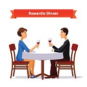 Romantic dinner for two. Man and woman holding glasses of whine. Table with white cloth and two chairs. Flat style illustration. EPS 10 vector.
