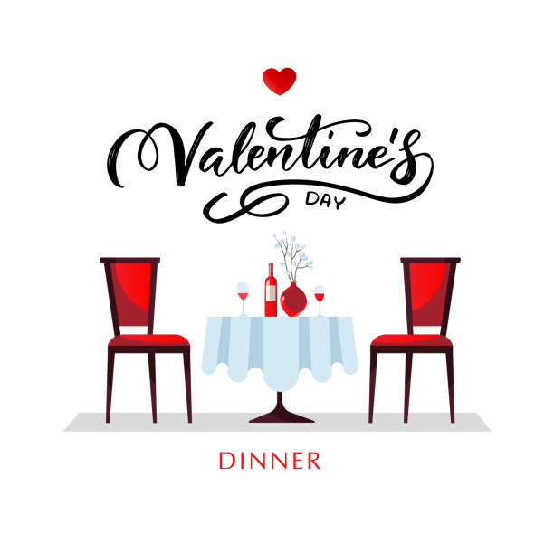 romantic dinner for valentine's day. a table with a white tablecloth, served with glasses, wine and porcelain flat vector style dinner illustration with lettering. - date night stock illustrations