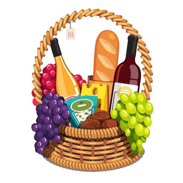 stockillustraties, clipart, cartoons en iconen met romantische diner of picknick rieten mand met vers voedsel. rode en witte wijn flessen, druiven, walnoten, stokbrood. vlakke geïsoleerde vector - mand